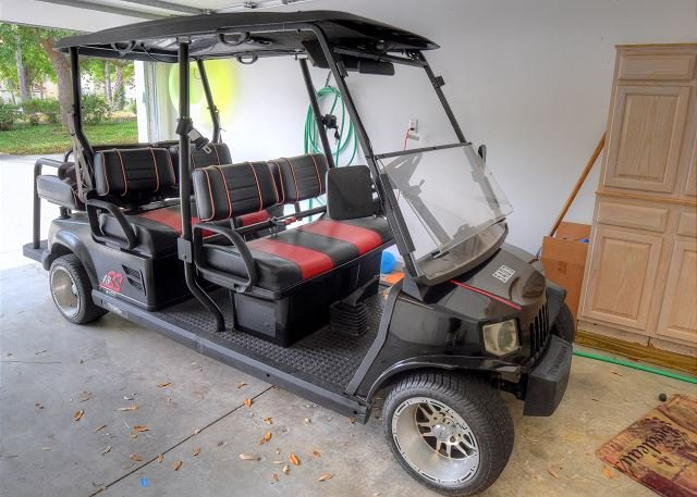 Lets Go tot he Beach in this 6 person golf cart.