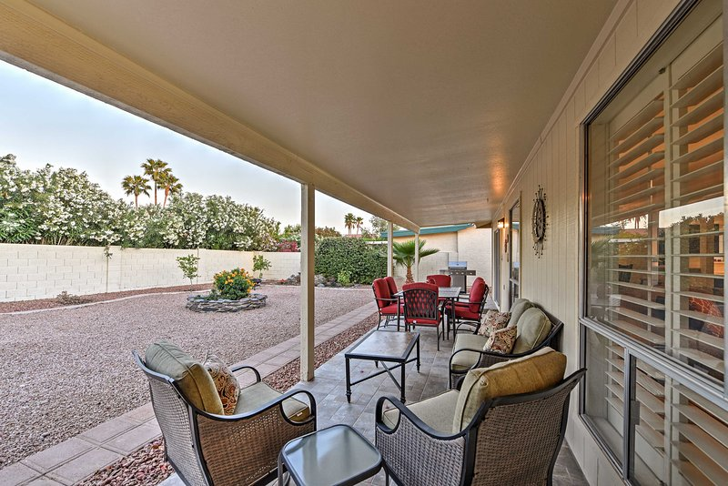 Experience Arizona from this 3-bedroom, 2-bath Sun Lakes vacation rental home.