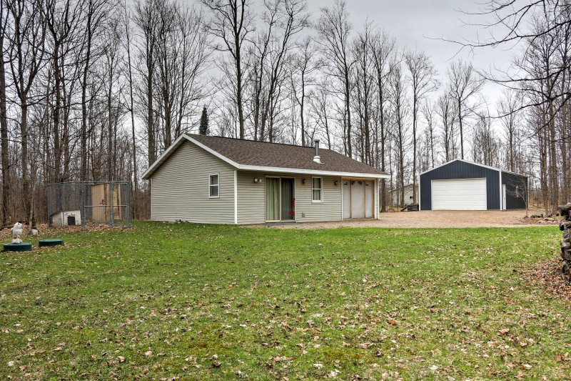 Find peace and quiet when you escape to this cabin in Pickerel on 17 acres!