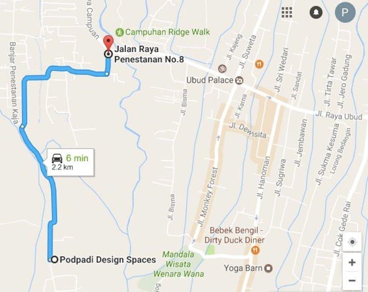Distance à Ubud Central