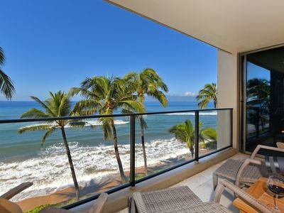 Sitting on the Lanai listening to the surf & watching the whales & dolphins.