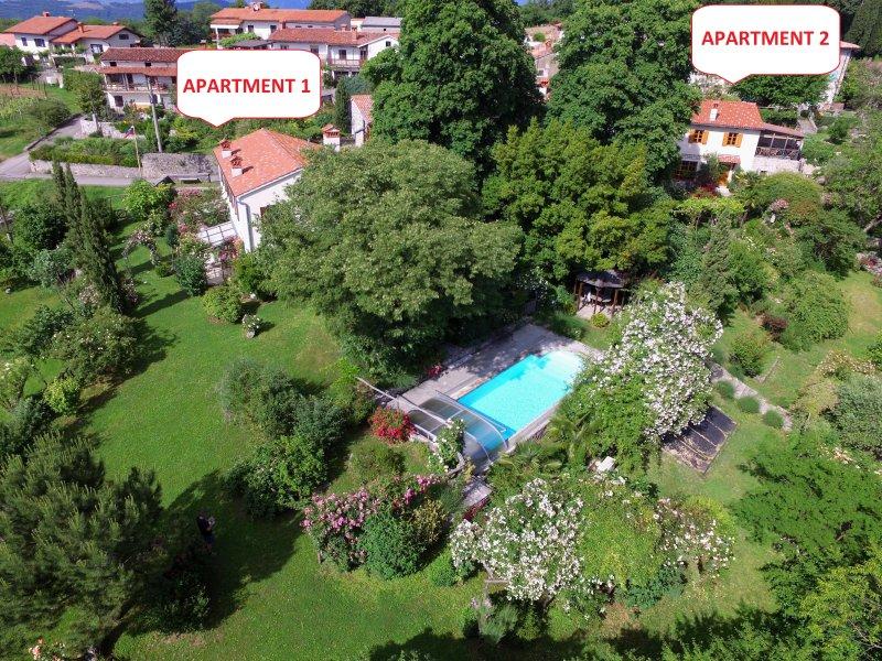 Luchtfoto van de sub-mediterrane tuin estate