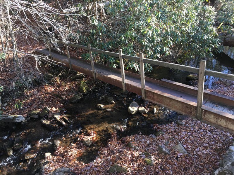 Foot bridge over the creek into Pisgah National Forest!