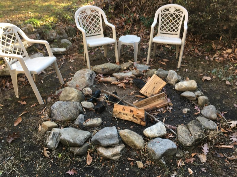 Fire pit for roasting marshmallows and hotdogs.