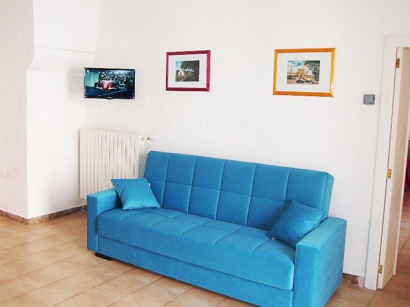 sofá-cama e TV de tela plana