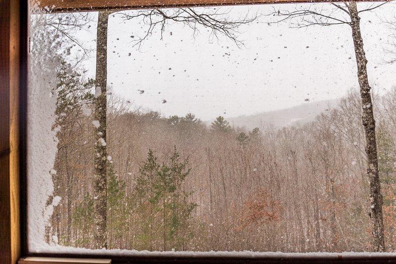 Screen porch snowing
