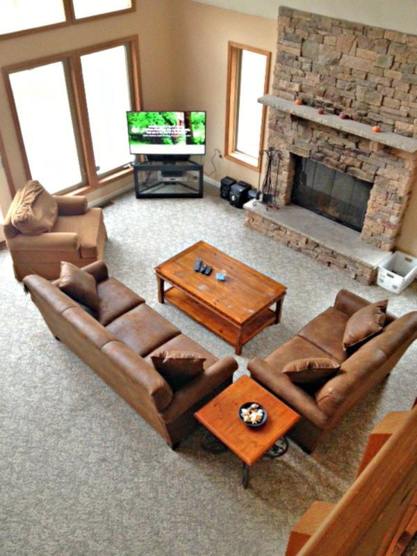 Vista del salón desde el nivel 3d