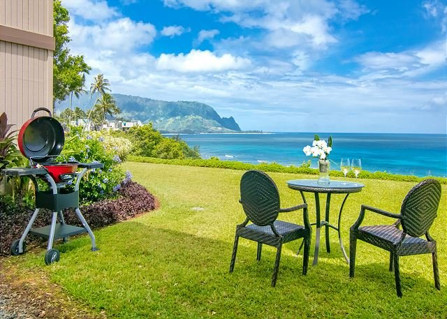 Pali Ke Kua #103: A/C Condo with Mount Makana & Sunset Views!, alquiler de vacaciones en Princeville
