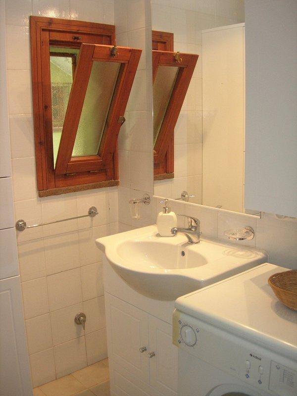 cuarto de baño con ducha y lavadora