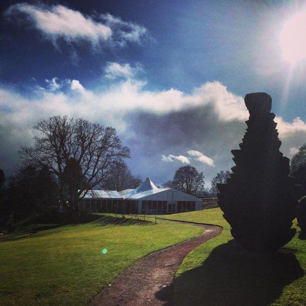Pavilion and castle lawn.