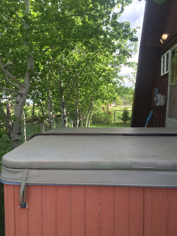 Hot Tub with partial privacy fence. Watch the stars at night.  Must be responsible when using this.