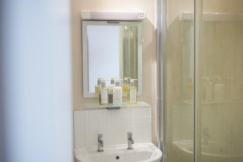 Pig Run Barn tem 2 casas de banho / ensuites um chuveiro de banho e banho de banho com chuveiro sobre a cabeça