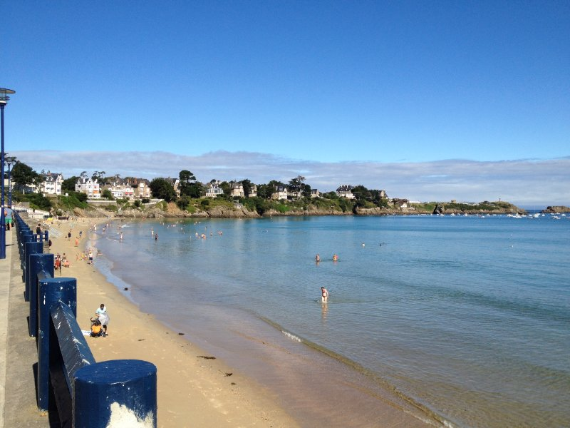 Great beach of Saint Lunaire, one of the most beautiful beach on the Emerald Coast in Brittany.