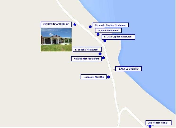 Mapa de restaurantes a poca distancia de la ubicación de la casa.