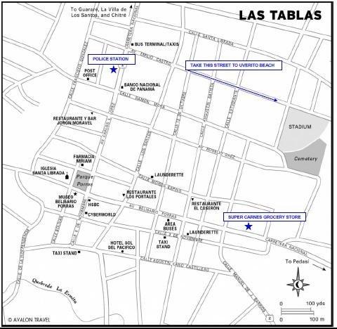 Un mapa de Las Tablas se proporcionará con instrucciones para entrar en la casa.
