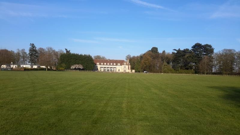 playing field with Overstone Manor