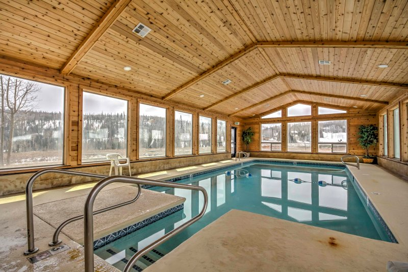 Swim laps in the indoor pool to stretch out your ligaments and get a workout in.