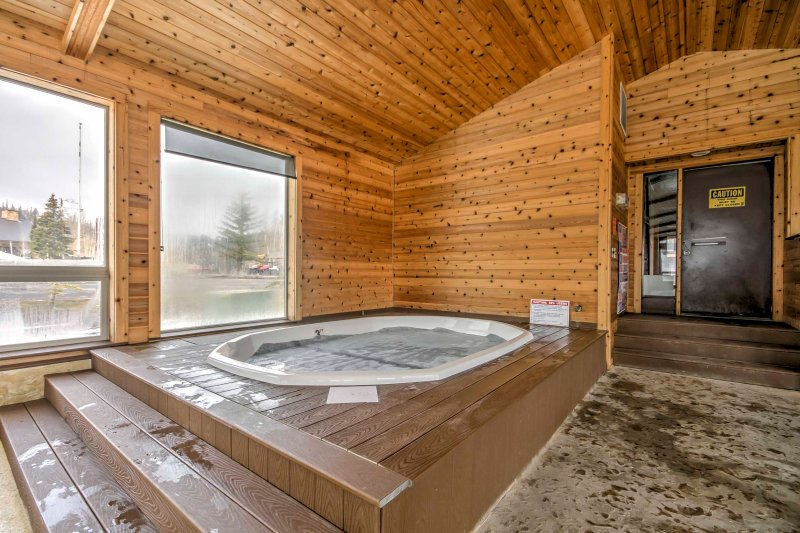 Soak away your stress and sore muscles in the hot tub.
