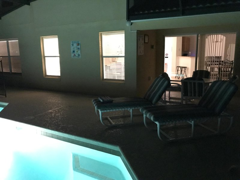 Balmy evenings can be enjoyed by the pool lighting