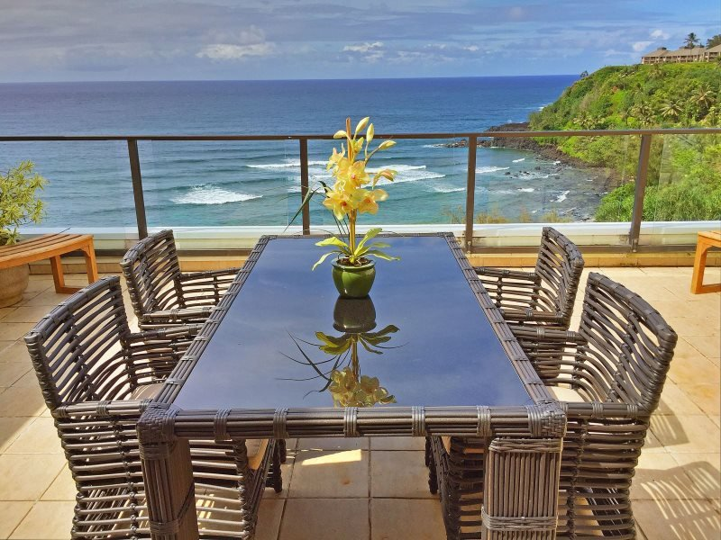 Admire gorgeous views from this Princeville vacation rental condo's oceanfront lanai!