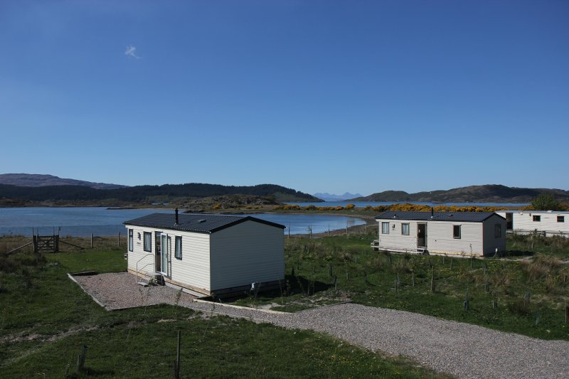 view over Arivegaig and Kentra bays looking towards Rum