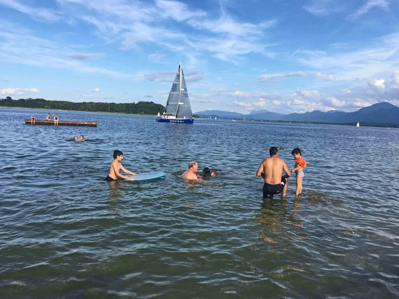 The summer invites you to swim in Lake Chiemsee.