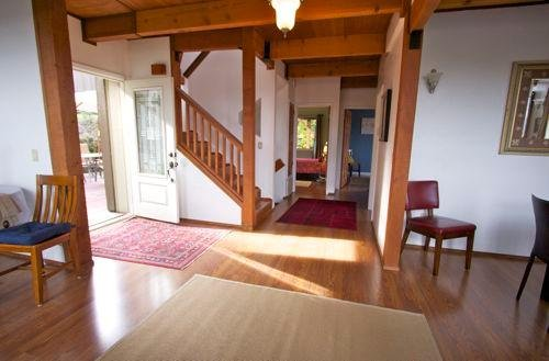 Main level entry (middle of 3) with 2 bdrms, Great Rm, Open Kitchen, and Living - Large deck - Views