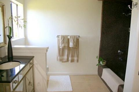 Master full bath with adjoining walk-in closet.