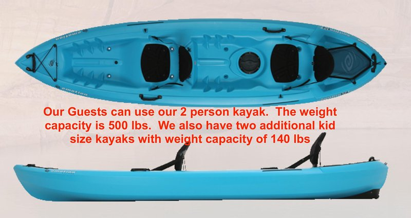 Use our 2-person kayak, we also have two single kayaks that are for children under 140 lbs.