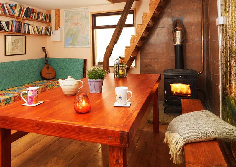 The common/kitchen area with wood burning stove
