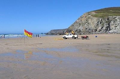fabulous blue flag Porthtowan surf beach 5 minutes walk away