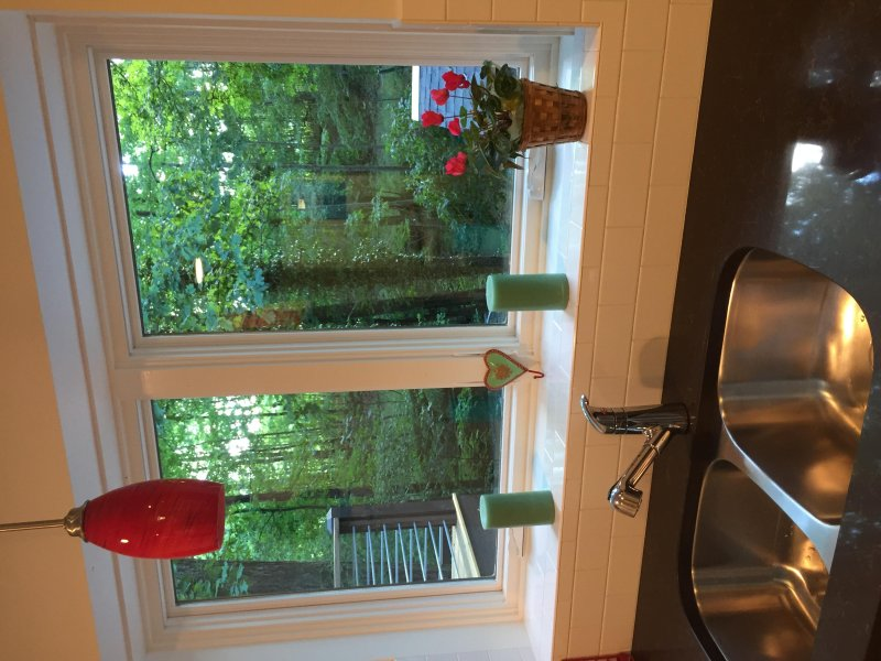 Look out over the forested backyard and creek from these large windows over the kitchen sink