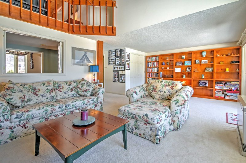Cozy up with a good book on the comfortable seating.