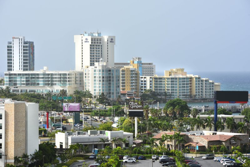 View from the apartment to condo bridge, Paseo Caribe, Hilton and Hyatt hotels