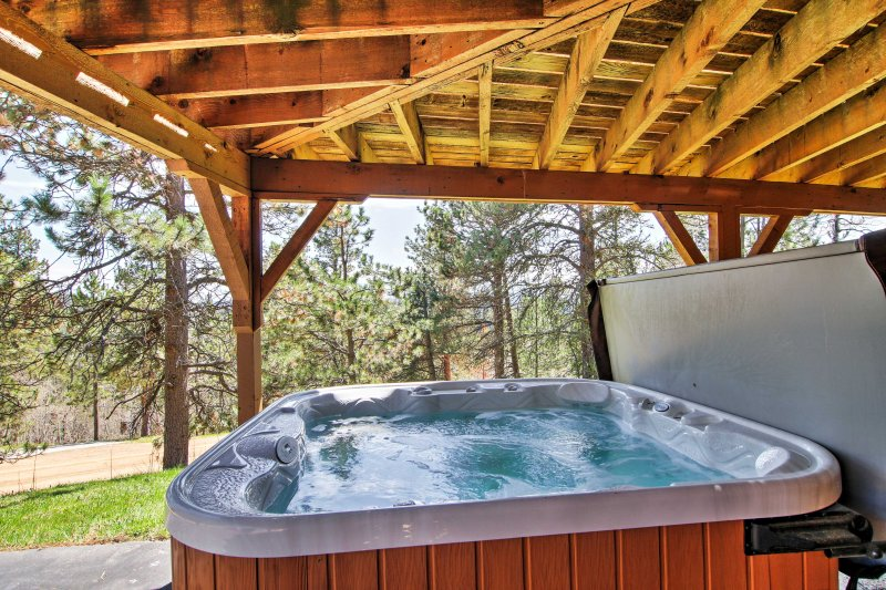 Soak away your cares in the hot tub.