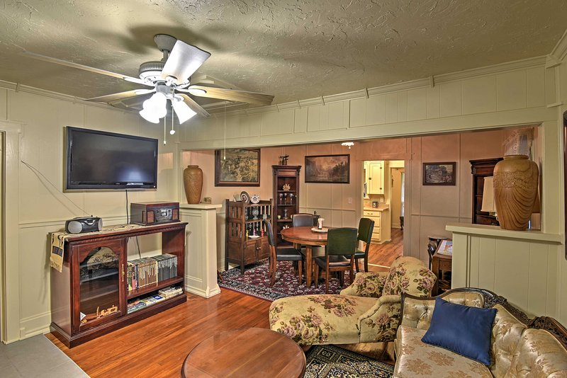 You'll love this home's antique decor and original hardwood floors.