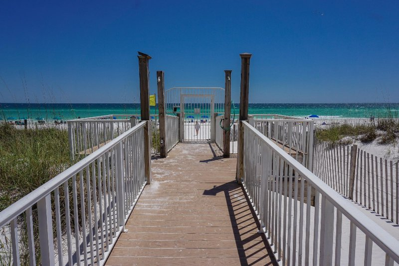 Boardwalk to Beach with Security Gate