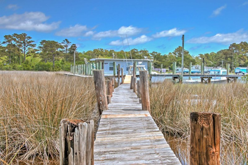 The dock was destroyed by hurricane Florence. It will be rebuilt in Spring 2019.