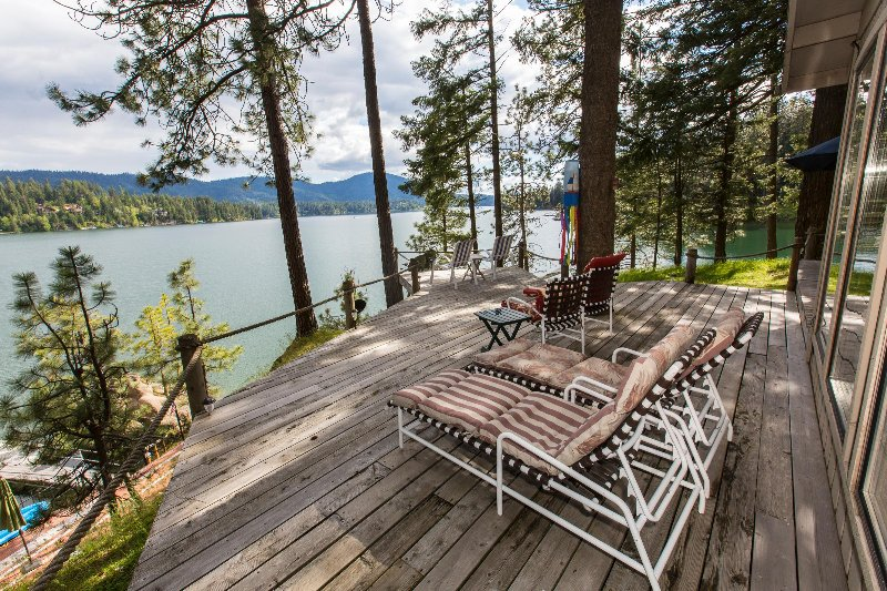 Huge deck offers 180 degree lake view