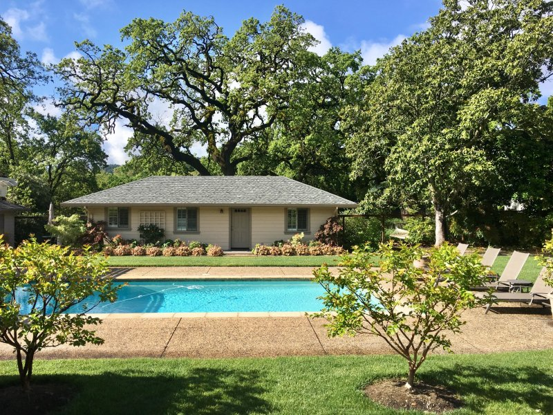 Private, poolside cottage nestled under ancient oaks in Sonoma Valley.