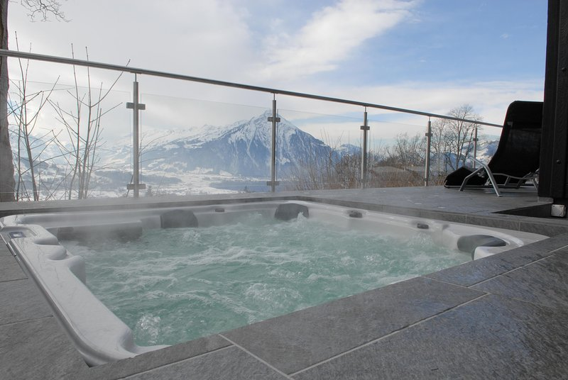 Relax your body and soul in the generous whirlpool with a view