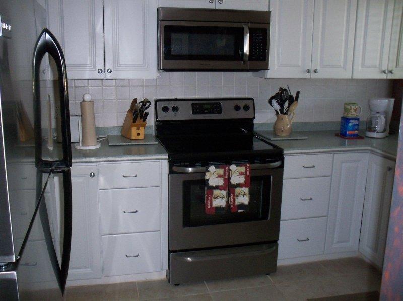 Todos los nuevos electrodomésticos de acero inoxidable.