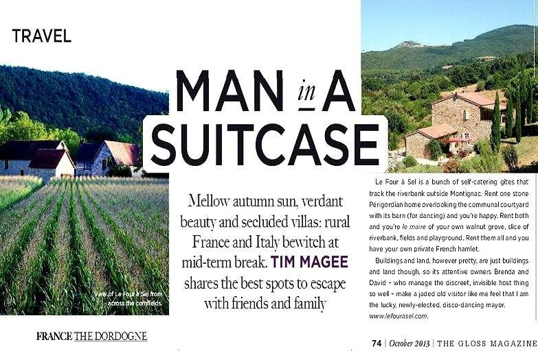 O artigo com Le Four a Sel na Revista Gloss, seção Viagem Irish Times, Oct.2013