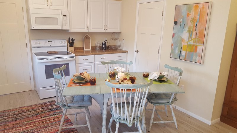 All new cabinets, appliances and countertops.  Plus, dishes, cookware, blender, toaster, and more!