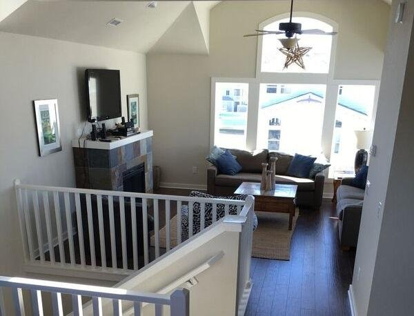 Top floor family room from dining area