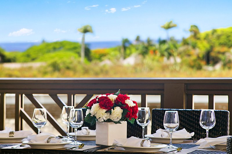 Outdoor Dining with a Distant Ocean View