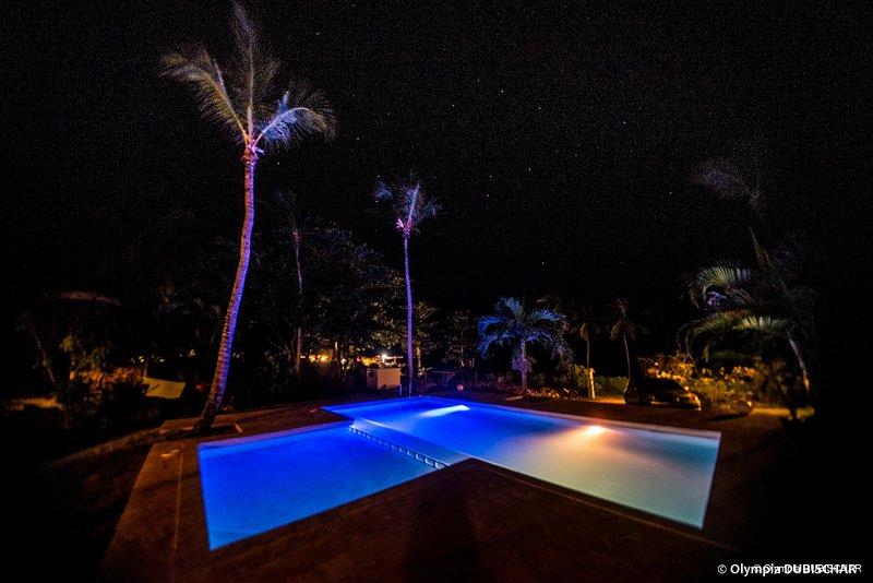 Night illuminated pool