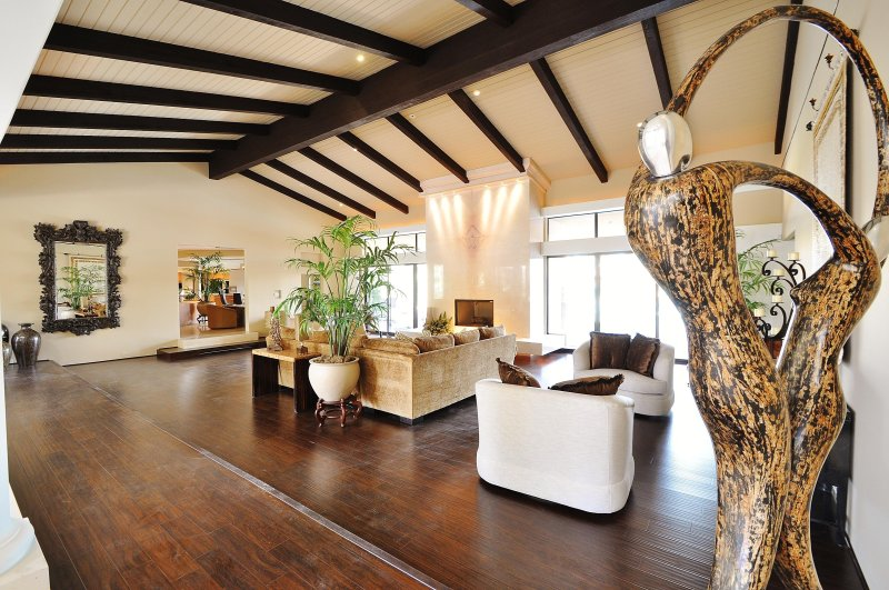 Great Room with Fire Place, Wet Bar, Sitting Area and Cathedral Ceilings