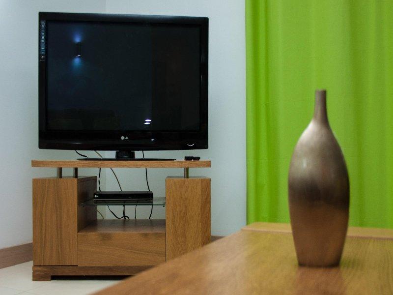 sala de estar con TV y DVD