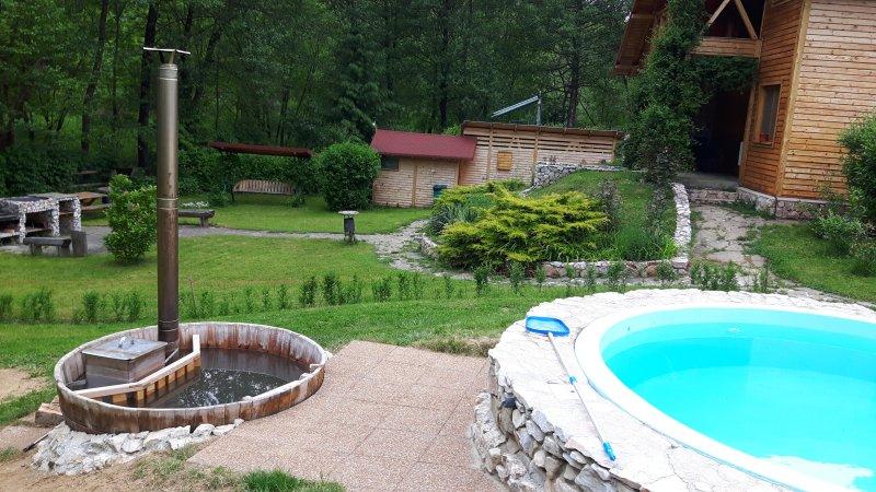 bañera de hidromasaje y una pequeña piscina